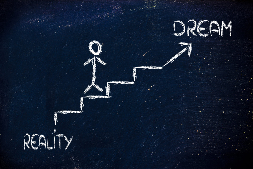 funny conceptual design, choice between dream or reality